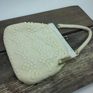 Vintage Beaded White Cream Handbag Purse